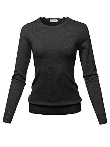 (Solid Basic Viscose Nylon Crew Neck Sweater Top Black Size XL)