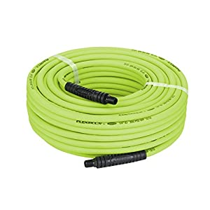 Flexzilla Air Hose, 1/4 in. x 100 ft., 1/4 in. MNPT Fittings, Heavy Duty, Lightweight, Hybrid, ZillaGreen - HFZ14100YW2