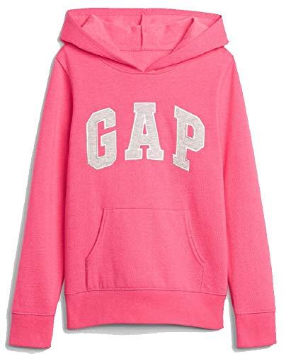 (GAP Girls Fleece Arch Logo Pullover Hoodie (X-Large, Pink (Grey Logo)))