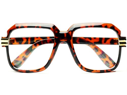 [Legendary Run Cazal Style Gazelle Retro Square Clear Lens Eye Glasses (Tortoise)] (Famous People With Glasses)