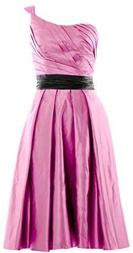 MACloth Women One Shoulder Satin Short Bridesmaid Dress Cocktail Party Gown Rosa