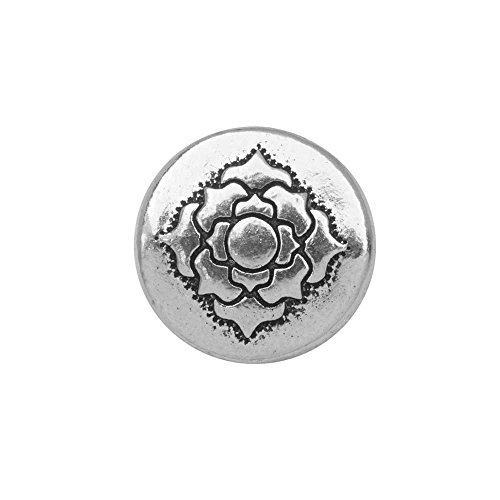 TierraCast Bead, Puffed Coin with Lotus Design 4x13.5mm, 2 Pieces, Antiqued Silver Plated (Coin Puffed Beads)