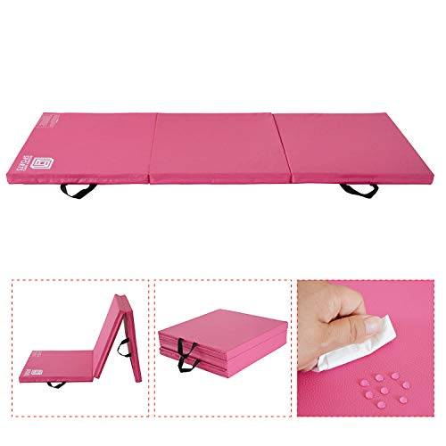 Modern-Depo Gymnastics Mat Tri-Fold 6'X2'X2 Thick with Handle, Waterproof Cover, 100% EPE Core (Pink)