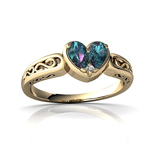 14kt Yellow Gold Lab Alexandrite and Diamond 5x3mm Pear filligree Heart Ring - Size 9