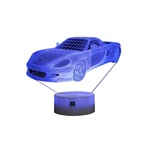 HUI YUAN Car 3D LED Visual Illusion Night Light Xmas Chirstmas Halloween Birthday Party Gift Nursery Bedroom Playroom Table Night Lamps Lights for Boys Kid Children Car Lovers Room Theme Decoration]()