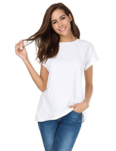MSHING Womens Simple Crew Neck Plain Loose T-shirt Summer Casual Tops, White, Medium (Plain White Tees T-shirts)