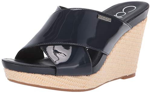 Calvin Klein Women's JACOLYN Wedge Sandal deep Navy Patent 9 M US ()