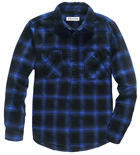 WenVen Men's Casual Twill Plaid Shirt with Long Sleeve (Blue, XL) -