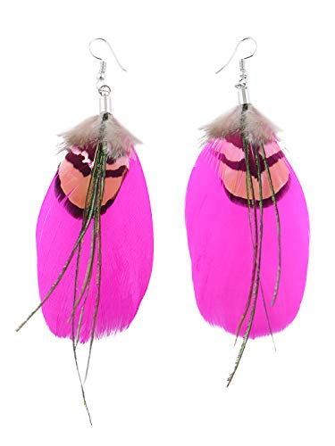 Alilang Neon Hot Pink Brown Boho Retro Feather