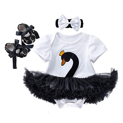 13d624440361 NUWFOR 3PCS Toddler Baby Girls Cartoon Swan Princess Dress+Headbands+Shoes  Set Outfit(