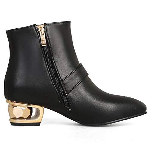 Femmes Éclair Talon Boots Soirée Coolcept Bas Noir Fermeture Mode vwd70xxq