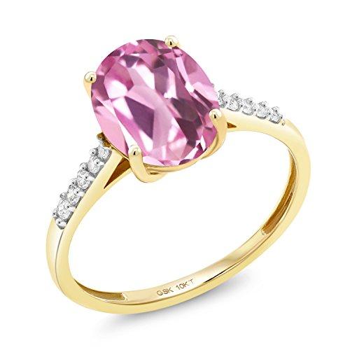 Gem Stone King 10K Yellow Gold 3.12 Ct Oval Light Pink Created Sapphire White Diamond Ring (Size - Pink Sapphire Light