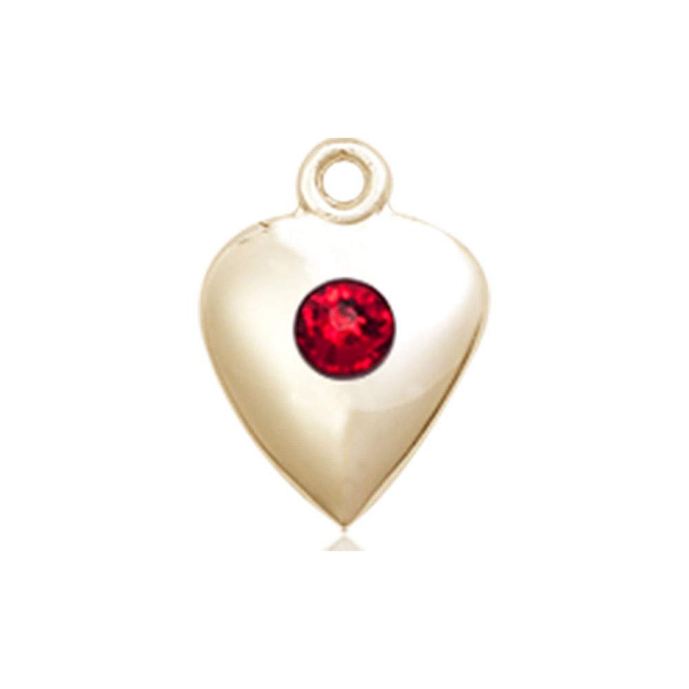 14kt Gold Heart Medal with 3mm Ruby bead.