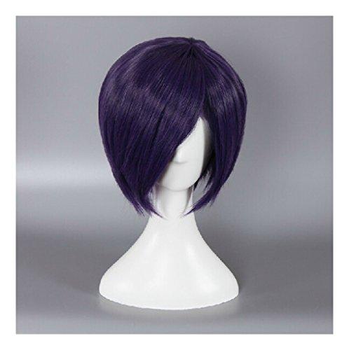 Touka Cosplay Costume (Kadiya Short Purple Synthetic Hair Anime Cosplay Wigs Synthetic Hair)