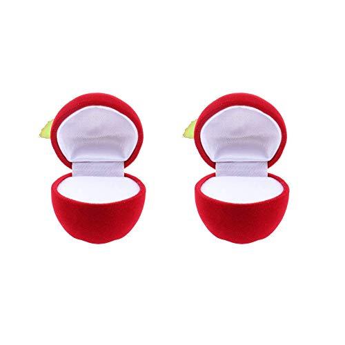 [해외]Amyou 애플 모양 상자 반지 케이스 기프트 박스 쥬얼리 케이스 보석 갤러리 모든 종류의 보석에 적용 가능한 2 개의 빨강 / Amyou Apple Shape Box Ring Case Gift Box Trinkets Case Jewelry Organizer 2 pieces red applicable to all kinds of je...
