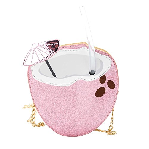 Cartoon Crossbody Women Coconut Bag Mini Shoulder Shape Pink Handbag Everpert Girls Chain FWdqOF