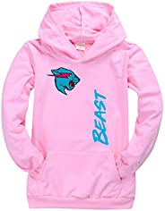 Mr-Beast Kids Cotton Hoodies,Unisex Cat Fashion Printed Pullover Sweatshirt Top t Shirt for Boys and Girls