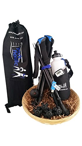 York Nordic 5 Piece Travel Pole Gift Set - Regular Size Travel Poles, Training Videos, Water Bottle, Pedometer, Travel Bag, and Accessories (Standard Length (5'4''-6'5'')) by York Nordic