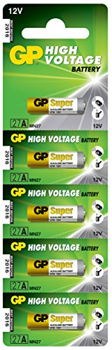 GP 27F pack of five 12V batteries. Usage: Cameras, Car Alarm Remotes, Burglar Alarms, Cigarette Lighters, Electronic Dog Collars. (27f Battery compare prices)
