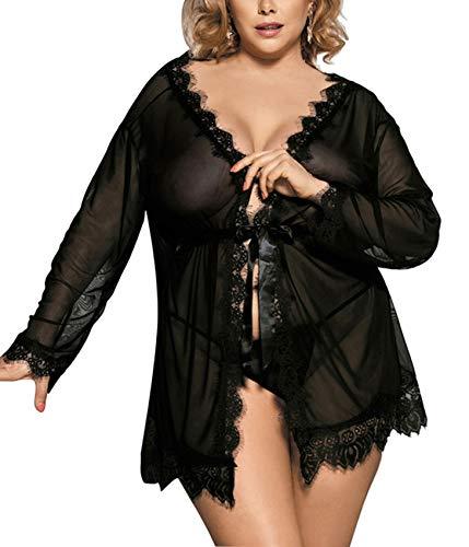 DotVol Women Lingerie Plus Size Lingerie Lace Mesh Long Robe Babydoll Lingerie Nightgown Sleepwear(US 4XL/Tag 5XL, Black)