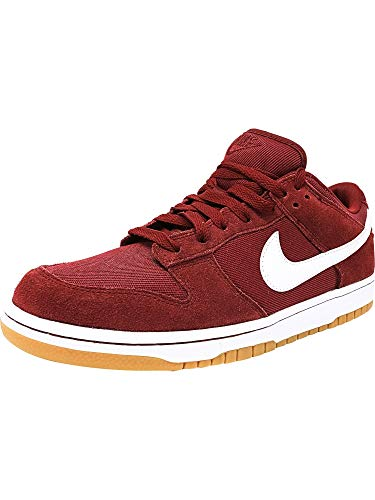 (Nike Men's Dunk Low Team Red/White-White Ankle-High Suede Fashion Sneaker - 10M)