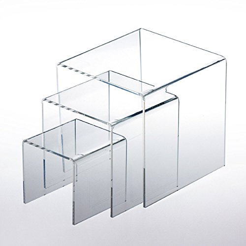 "Adorox Top Quality (1 Set of 3pcs) Clear Acrylic Display Riser (3"", 4"", 5"") Jewelry Showcase Display"