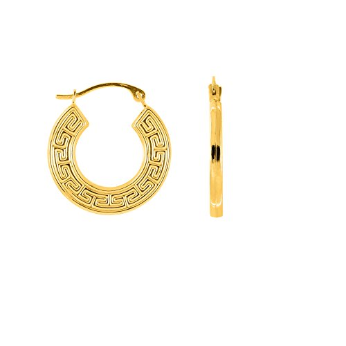 JewelStop 10k Yellow Gold Greek Key Round Hoop Earrings - 18mm