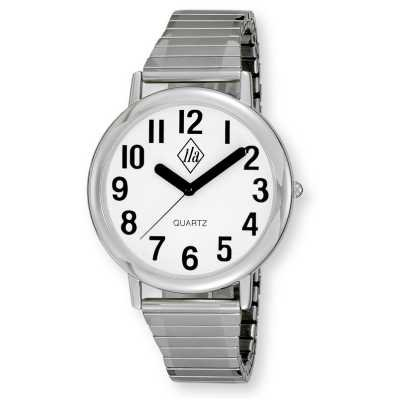 Unisex Low Vision Silver Tone Watch White Face w/ Black Numbers, Expansion Band