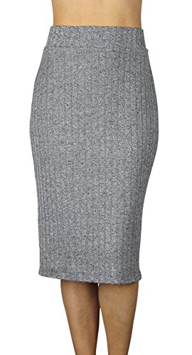 Free to Live Ribbed Midi Skirt (XL, Black)