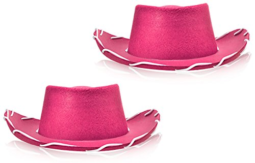 Bottles N Bags 2 Pack of Pink Children's Western Style Woody Felt Cowboy Hats for Pretend Play