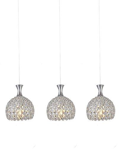 Lightess Crystal Chandelier 3 Lights Glass Hanging Pendant Lighting Fixtures Modern Ceiling Lamp for Kitchen Bedroom For Sale