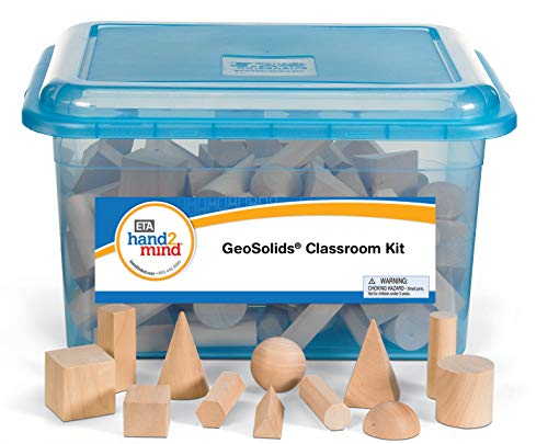 hand2mind Wood Geometric Solid Blocks, 3D Shapes, Classroom Kit (Set of 96)