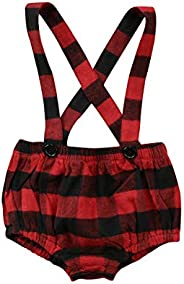 Infant Overalls, Red Black Plaid Newborn Baby Bib Pants Slacks Knickers Shorts Dungarees Jeans Outfit Clothes