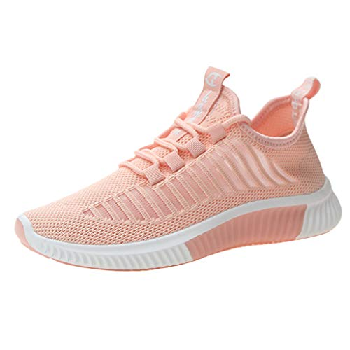 Londony Women Fashion Outdoor Casual Lace-Up Sports Shoes Run Breathable Shoes Sneakers Summer Elastic Shoes Pink