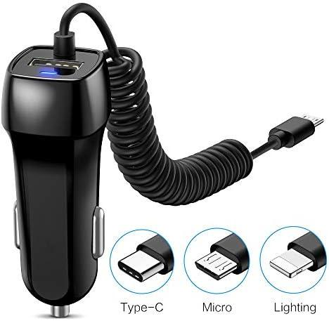 マイクロデータケーブルデュアル充電器付き 車用充電器シングルUSB/5V-1A/5V-2A充電器ヘッド