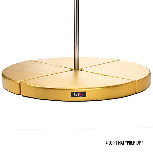 Pole Dance Crash Mat by LUPIT POLE - Premium Model - Gold, 12cm (4.72in), Round - Portable Fitness Pole Dancing Safety Mat - Anti-Slippery Surface
