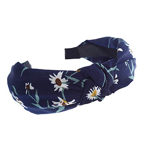 MOPOLIS Women Girls Knot Floral Print Hairband Headband Fabric Hair Band Hair Accessory | Colors - #7Navy