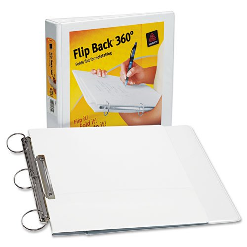 Avery : Flip Back Three-Ring View Binder, 1in Capacity, White -:- Sold as 2 Packs of - 1 - / - Total of 2 ()