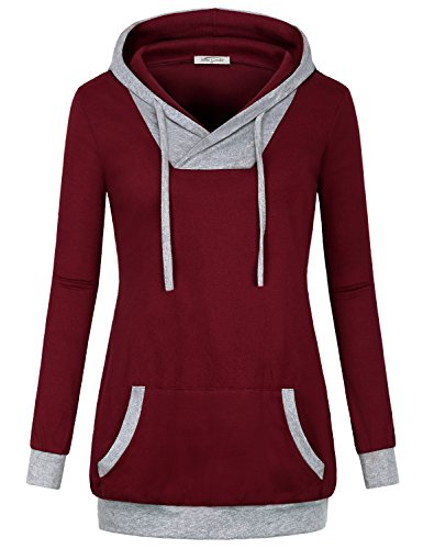 Burgundy Tops for Women ,SeSe Code Ladies Cotton Tunic Plain Hoodie Pullover Sweatshirt Fashion Contrast Color Workout Clothes Petite Preppy Shirts Work Fall V Neck Blouse Blouson Wine M