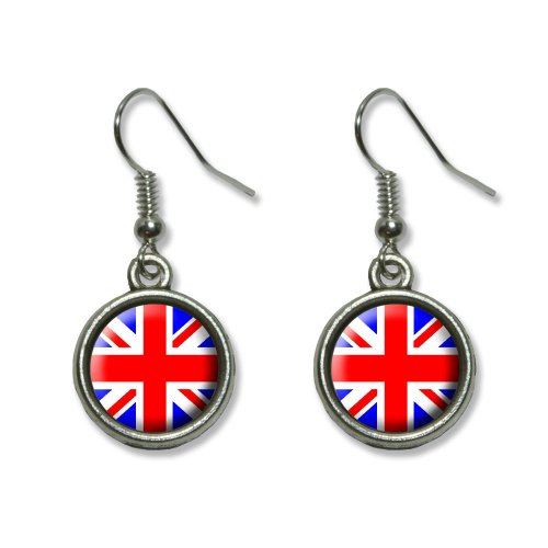 Britain British Flag - Union Jack Novelty Dangling Dangle Drop Charm (Flag Charm Earrings)