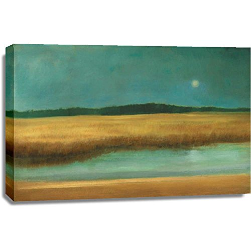 Print Mint The Canvas Print Wall Art - Caroline Gold - Harvest Moon - Abstract Landscape Contemporary Artwork on Canvas Stretched Gallery Wrap. Ready to Hang - 42x28″ - Harvest Moon Artwork