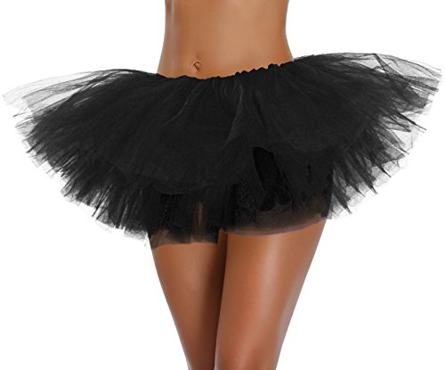 Women's, Teen, Adult Classic Elastic 3, 4, 5 Layered Tulle Tutu Skirt (One Size, Black 5Layer)