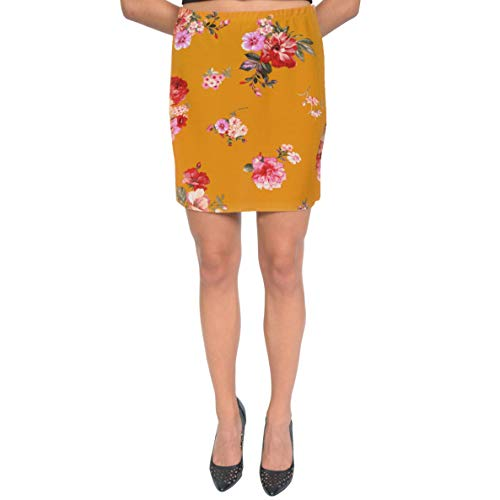 - Stretch is Comfort Women's Print Mini Skirt Multi Floral Mustard Yellow X-Large