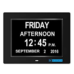 8 LED Clock - The Original Memory Loss Digital Calendar Day Clock with Extra Large Non-Abbreviated Day & Month.8inch LED with Extra Large Day, Month,Time for Elderly,Perfect for Mom Dad And Seniors