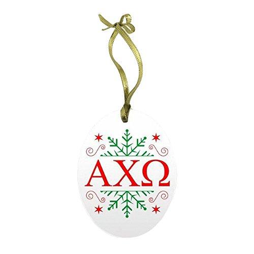 Greekgear Alpha Chi Omega Holiday Color Snowflake Glass Christmas Ornament