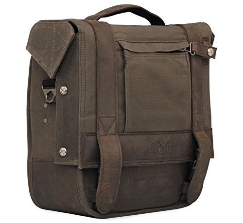 Burly Brand Voyager Saddlebag/Messenger Bag Brown - Aged/Distressed Waxed Cotton Canvas with Leather Straps - MADE IN THE USA (Waxed Canvas Messenger Bag Made In Usa)