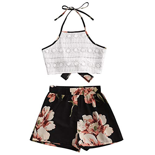 ZAFUL Women's Floral Print Lace Panel Halter Tie Back Crop Tank Top and Shorts Set (Multi, S)