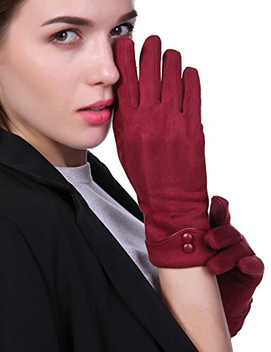 Women Winter Gloves Touch Screen Thick Warm Windproof Adult Hand Outdoor Mittens Gloves With Buttons (Fleece Lining) (red) - Spandex Winter Gloves