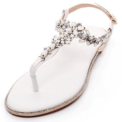 LUXVEER Beach Wedding Shoes, Women Bead Crystals Beach Flat Bride Wedding Dress Sandals for Party