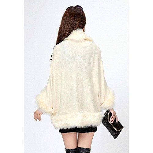 Pelliccia Elegante Semplice Giubbino Giacca Invernali Lunghe Donna Beige Hot HaiDean Outerwear Corto Glamorous Cappotto Maniche Sintetica w1tqnIgwxR